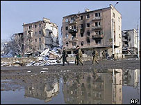 Ruined buildings in Grozny