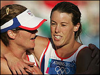 Kate Allenby (left) congratulates Georgina Harland on her bronze medal