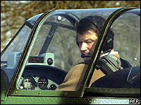 Rolandas Paksas in a plane outside Vilnius, March 2004
