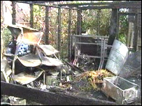 The shed was destroyed in the attack
