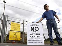 Protester outside proposed site for asylum centre