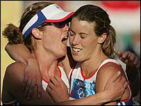 Georgina Harland (left) is congratulated by team-mate Kate Allenby
