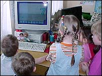 Children use a computer to learn counting