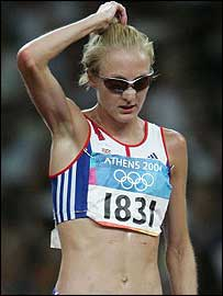 Paula Radcliffe looks perplexed after pulling out of the 10,000m