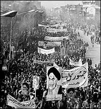 Marchers celebrate Ayatollah Khomeini's return to Tehran, 1979