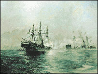 Combate Naval de Iquique, óleo de Alvaro Casanova