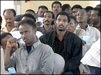 Passengers from the hijacked plane (picture: Sudanese TV)
