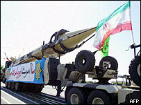 Iranian Shahab-3 missile at a military parade in Tehran