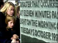 Mourners at the memorial to the Ladbroke Grove disaster