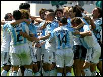 Jugadores de Argentina celebrando