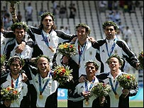 Argentina celebrate their men's football Olympic title