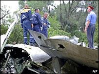 Restos del avión Tu-154 en Rostov del Don