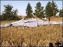Restos del Tu-134 en Tula