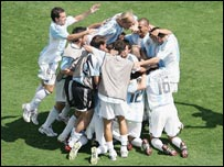 Argentina celebrate victory at the 2004 Olympics