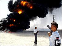 Burning tanker near Falluja
