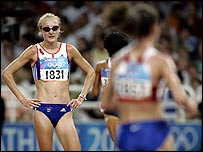 Paula Radcliffe after dropping out of the Olympic 10,000 metres