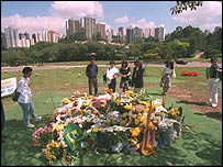 Fans gather at Ayrton Senna's grave in Morumbi cemetery in Sao Paulo