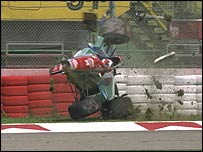 Rubens Barrichello's Jordan somersaults at the 1994 San Marino Grand Prix