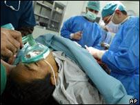 Doctors work in an Iraqi hospital