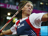 Andreas Thorkildsen competes in the Olympic javelin final