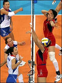 China and Russia contest a point in the women's volleyball final