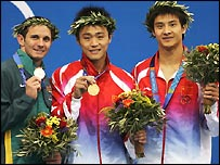Hu Jia (centre), Robert Helm (left) and Tian Liang