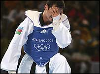 Rashad Ahmadov shows his disappointment after losing the semi-final
