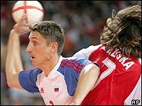Russia's Vitali Ivanov (left) shrugs off Hungary