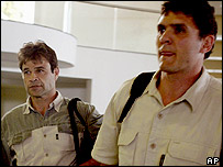 Harry Carlse (left) and Lourens Horn waiting to leave Zimbabwe