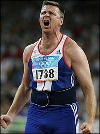Steve Backley shouts in anger after launching a throw in the javelin final