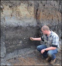 Adam Thompson at the River Trent's palaeochannel