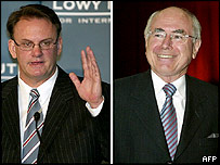 Mark Latham (l) and John Howard (r)