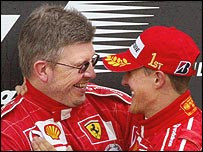 Michael Schumacher and Ferrari technical director Ross Brawn