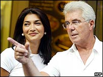Max Clifford with Football Association secretary Faria Alam, who had an affair with England manager Sven Goran Eriksson