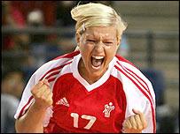 Kristine Andersen celebrates Denmark's victory in Athens