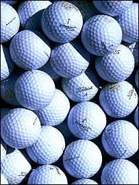 A pile of golf balls