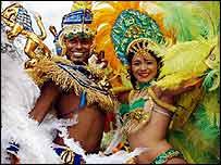Escena en el Carnaval de Notting Hill.