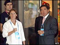 Greek national sporting hero and doping suspect Katerina Thanou (left) leaves the Hilton Hotel in Athens