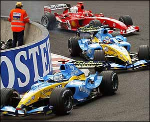 Jarno Trulli, Fernando Alonso and Michael Schumacher