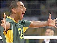 Brazil's Sergio Dutra Santos celebrates