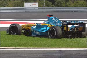 Trulli on the grass after the collision with Montoya