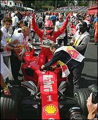 Schumacher celebrates with the Ferrari team