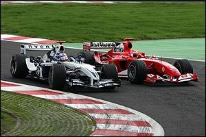 Montoya overtakes Schumacher