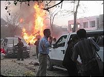 Scene of bomb attack in Kabul in August 2004