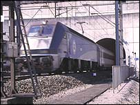 Shuttle train leaves the Channel Tunnel