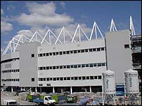 The front of the new Morfa stadium