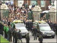A joint funeral was held for two of the dead teenagers