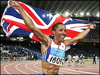 Kelly Holmes flies the British flag