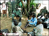 Ugandan army with rebel children
