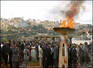 A flame burns in memory of the genocide victims at Gisozi, Kigali